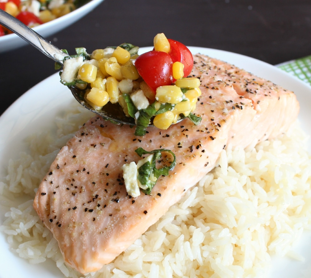 Spook corn mixture over salmon and rice.