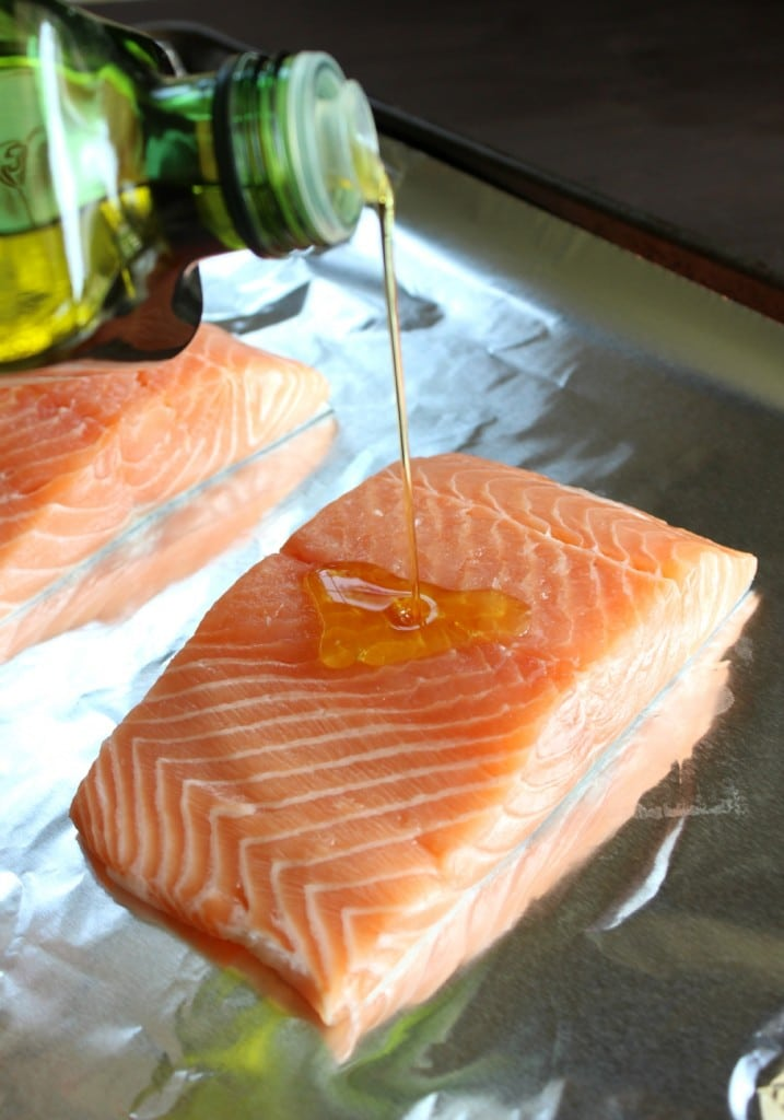 Drizzle with olive oil over salmon.
