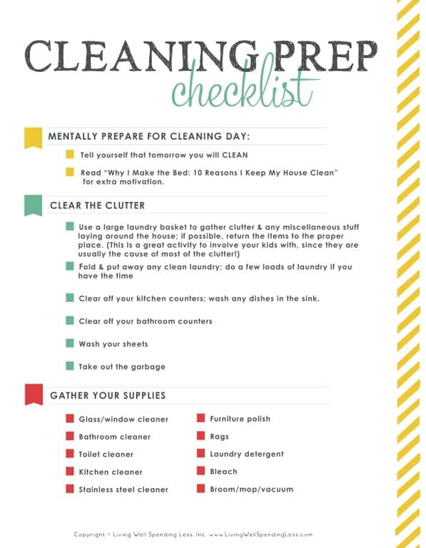 31 days LWSZ day 8 cleaning prep checklist