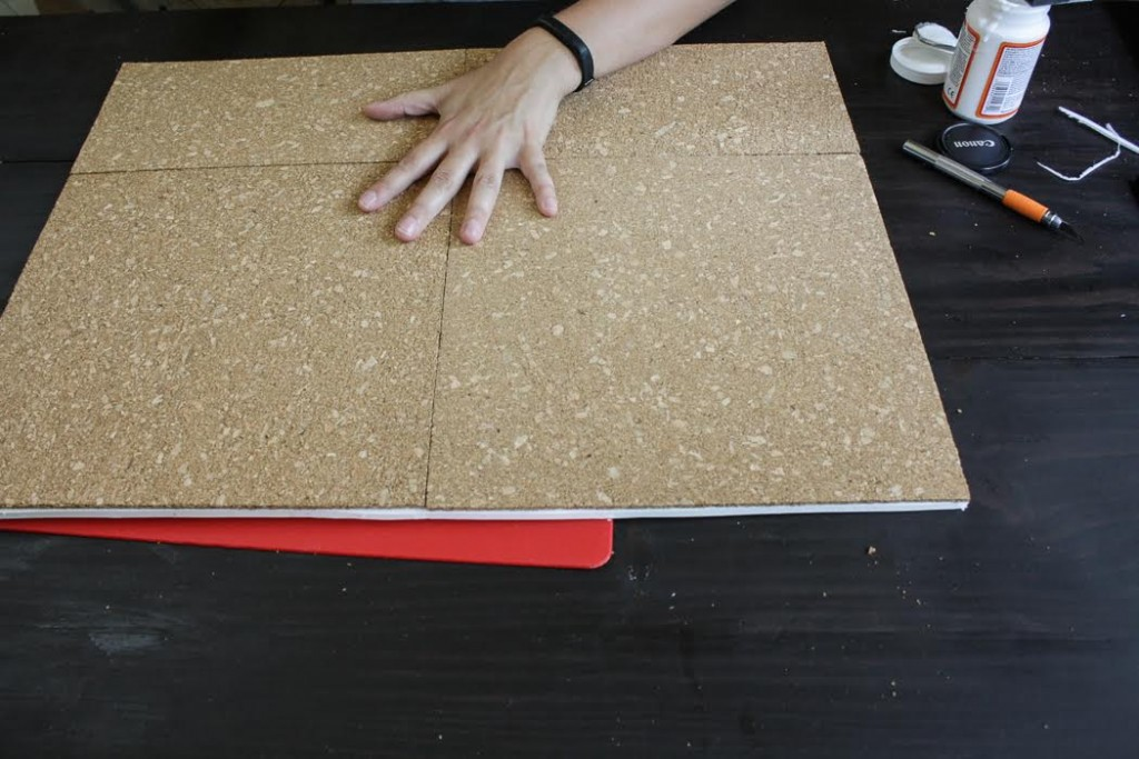 Assemble cork tiles together into one even square.