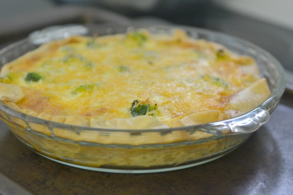 Bake this delicious quiche in the oven until it's golden brown and set.
