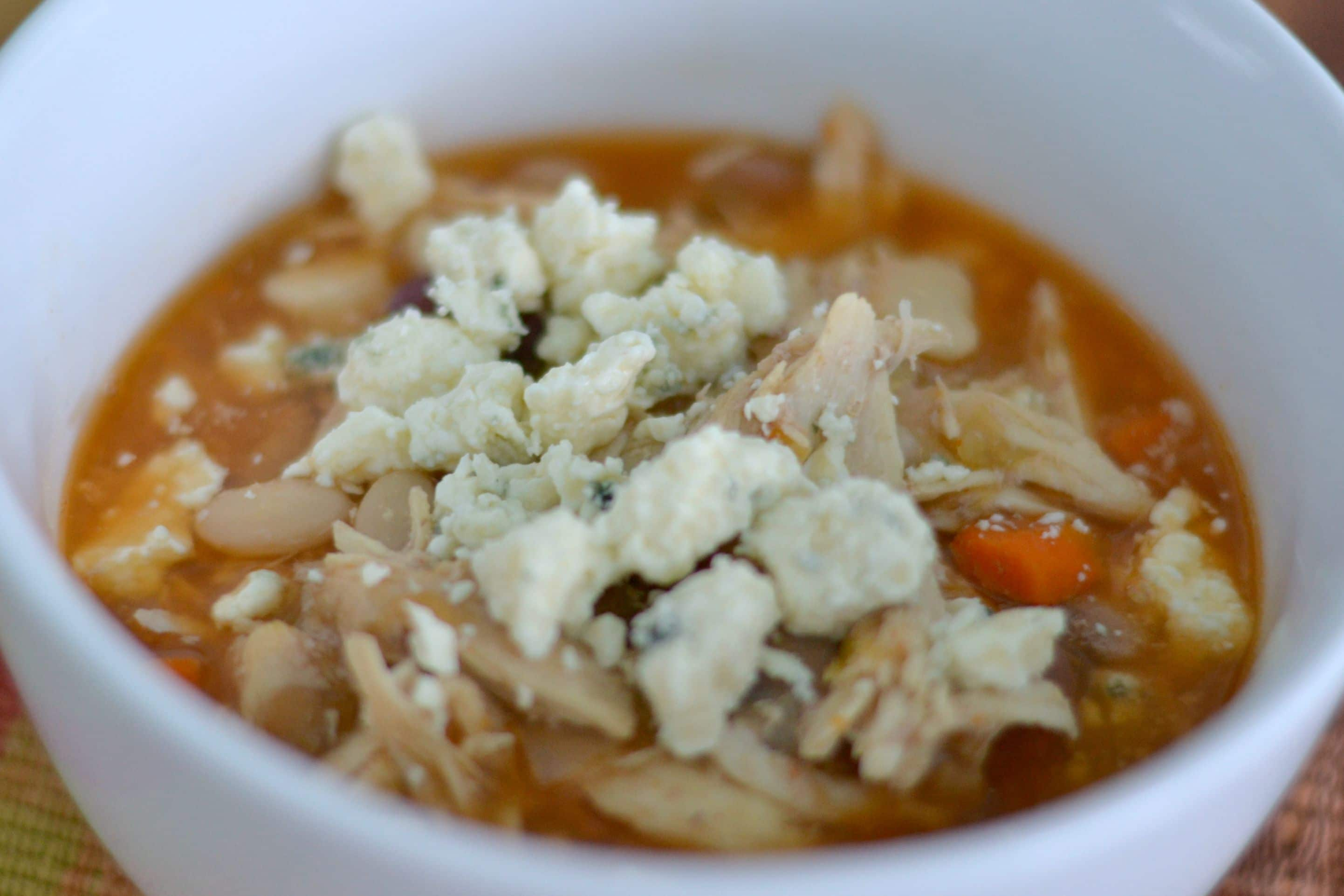 This buffalo chicken soup goes from freezer to slow cooker for a tasty meal.