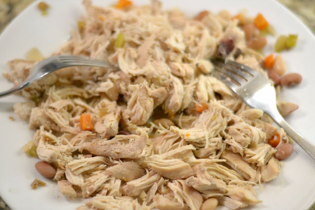 Shred chicken after cooking in slow cooker