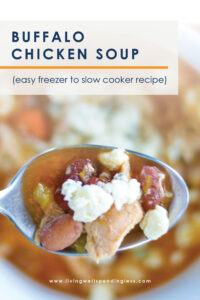 With just a few budget-friendly ingredients, this ridiculously delicious slow-cooker Buffalo Chicken Soup comes together fast, then freezes beautifully until you're ready to throw it in the crockpot. It seriously could not be any easier! #recipes #crockpotrecipes #souprecipes #slowcookerrecipes