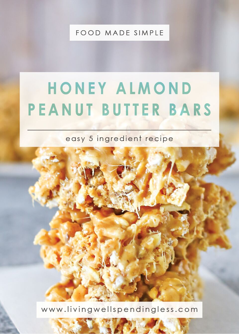 Honey Almond Peanut Butter Bars | 5 Ingredient Recipe | Food Made Simple | After School Treat | Easy Dessert Recipe