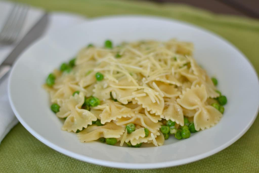 This browned butter pasta with peas is not only delicious but it's also beautiful when plated up.