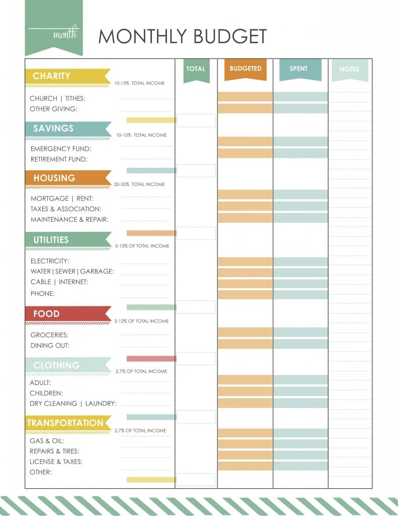 This printable sheet will help you reassess your monthly budget.