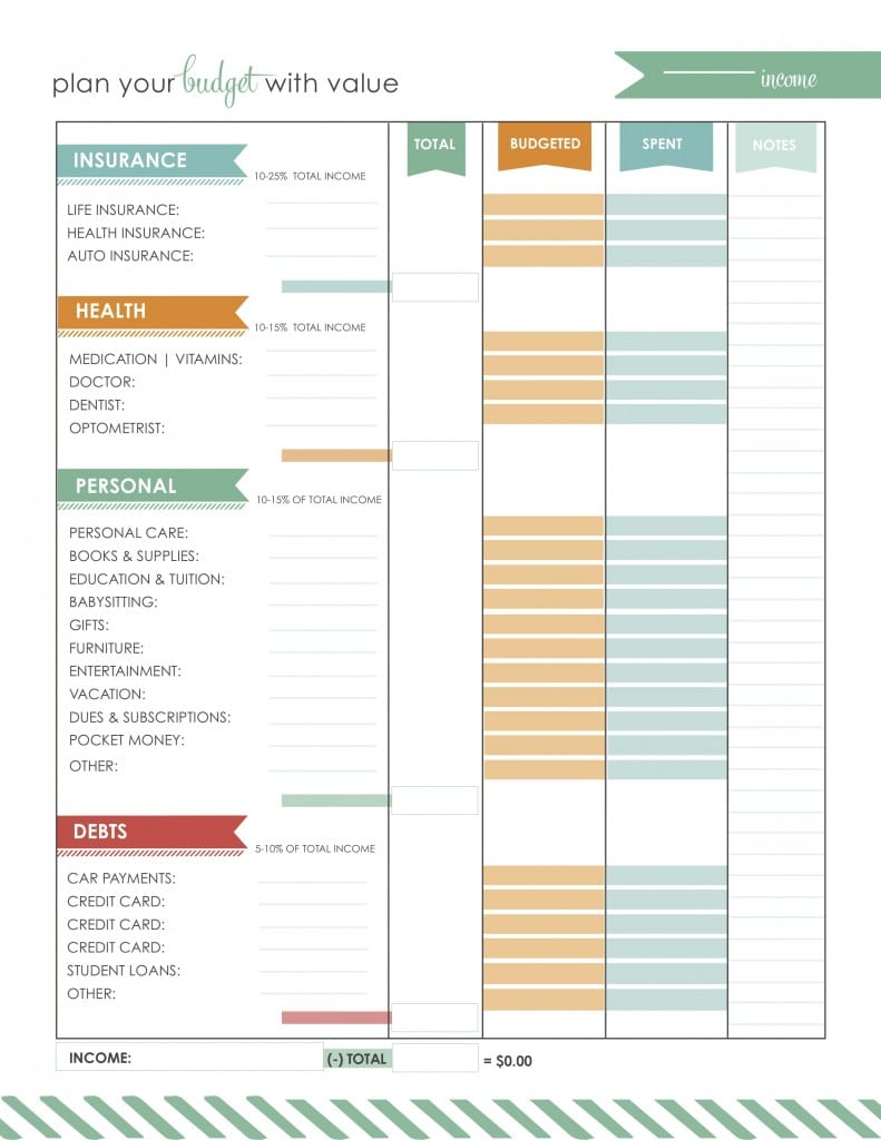 This printable sheet will organize your budget for you.