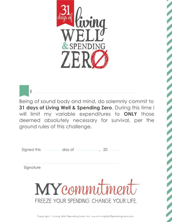 Living Well Spending Zero Commitment Printable