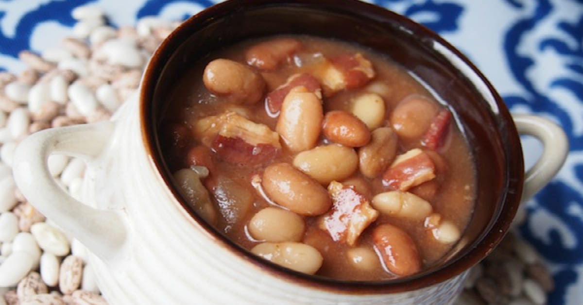 Slow cooked bacon and beans freeze great and warm up deliciously.