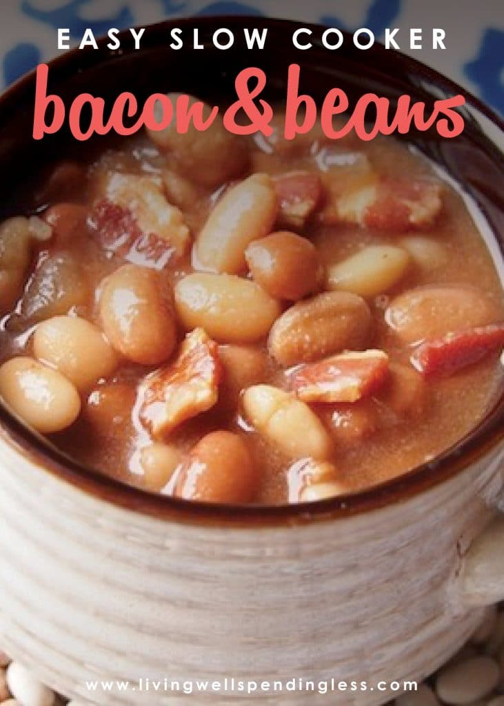 With just a few budget-friendly easy ingredients, these ridiculously delicious Slow-Cooker Bacon & Beans come together in minutes, then freeze beautifully until you're ready to throw them into the crockpot, no pre-soaking, or thawing required. It seriously could not be any easier! The perfect simple dish to warm your crowd this winter!