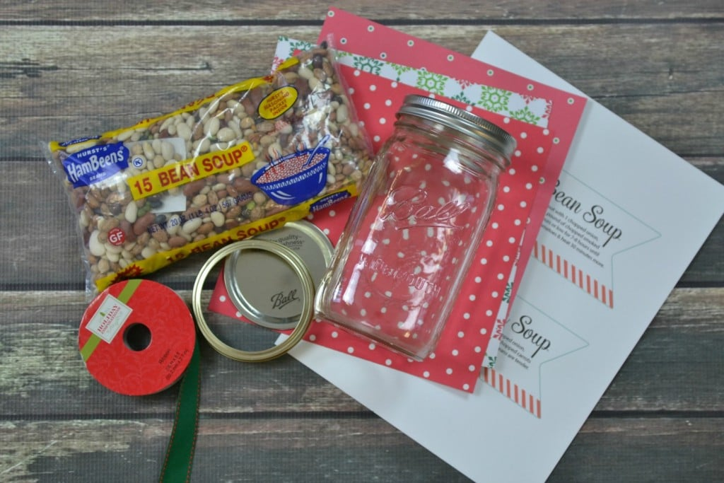 Supplies and ingredients needed for this 15 bean soup jar gift idea - a perfect holiday gift!