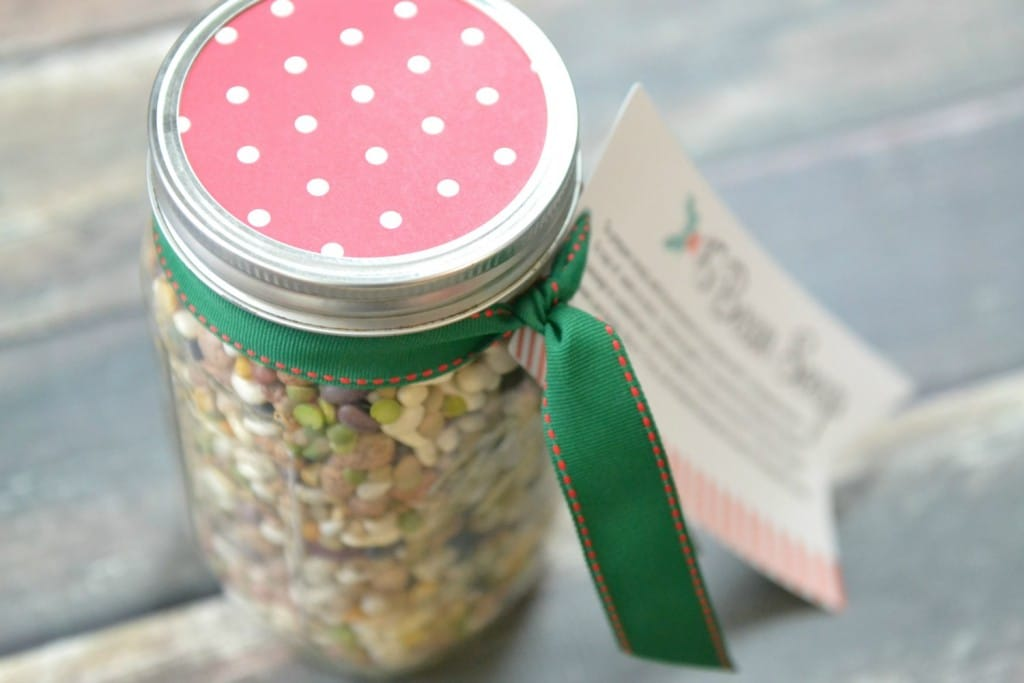 Include a recipe card and a ribbon on the jar of soup mix to make it the perfect, easy holiday gift.