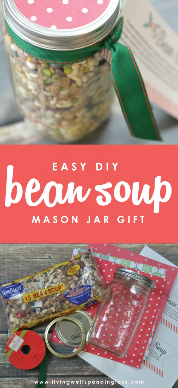 Looking for a thoughtful food gift alternative that doesn't require hours in the kitchen?  This pretty 15 Bean Soup Jar is not only inexpensive to make, it literally comes together in minutes for a delicious homemade gift that is sure to be appreciated.   15 Bean Soup Jar Gift | DIY Holiday Soup | Easy Homemade Gift Idea | Soup in a Jar | Mason Jar Recipes
