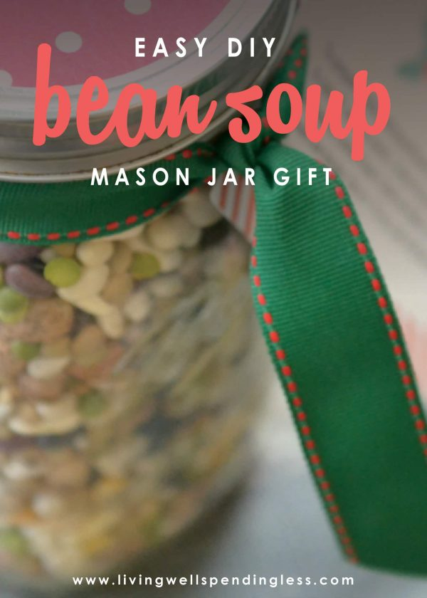 Looking for a thoughtful food gift alternative that doesn't require hours in the kitchen?  This pretty 15 Bean Soup Jar is not only inexpensive to make, it literally comes together in minutes for a delicious homemade gift that is sure to be appreciated.