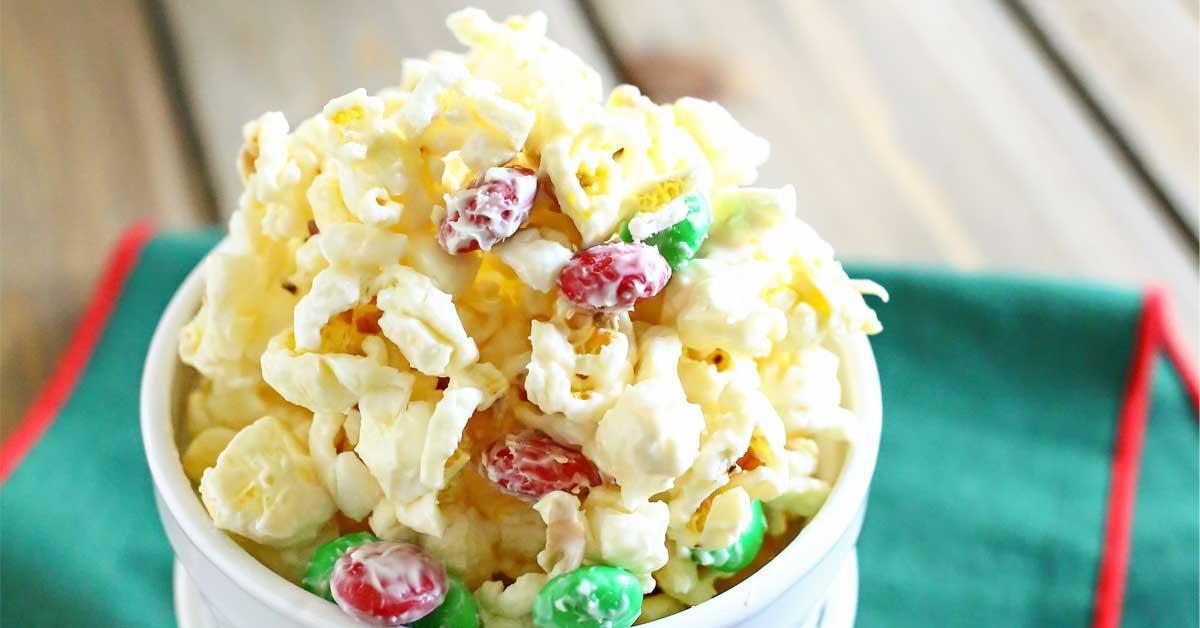 White Chocolate Holiday Popcorn