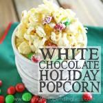 White Chocolate Holiday Popcorn Square