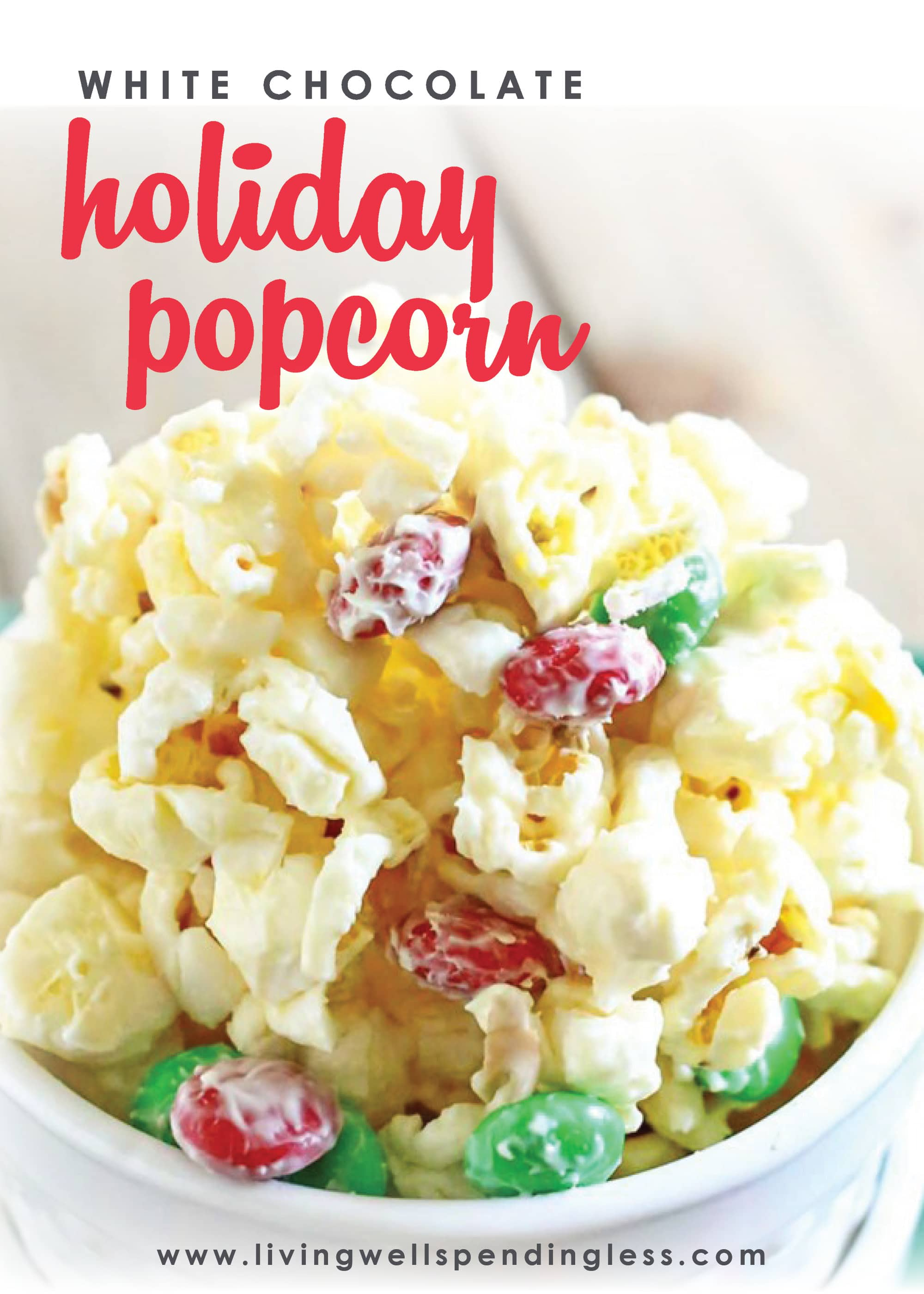 Craving a festive holiday treat that's both a little salty AND a little sweet? This delicious White Chocolate Holiday Popcorn comes together in minutes with just four easy ingredients! Package it as gifts or keep it all for yourself--either way it's absolutely delicious!
