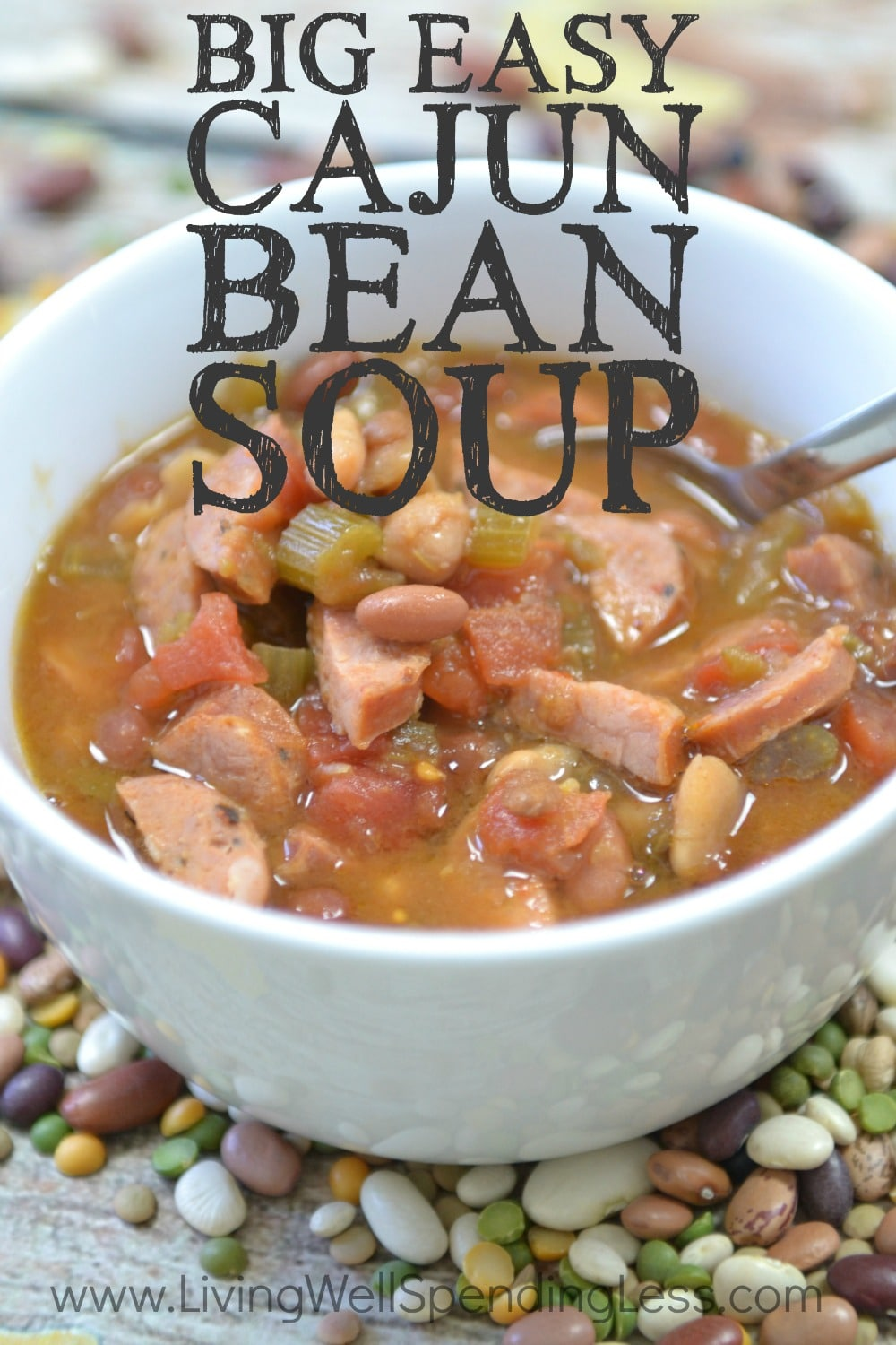 Big Easy Cajun Bean Soup | Freezer Crockpot Recipe | Slow Cooker Cajun Sausage Bean Soup | Slow Cooker Cajun | Freezer Meals | Crockpot Soup Recipe