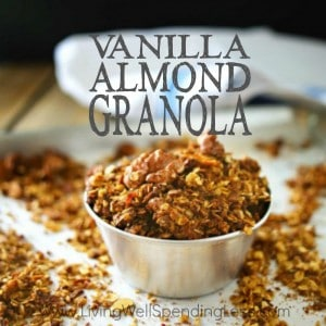 Craving a simple breakfast solution you can make ahead? Packed with goodness, this simple homemade Vanilla Almond Granola is a breeze to make and absolutely delicious too! Perfect with fruit, over yogurt, or just enjoyed on its own.
