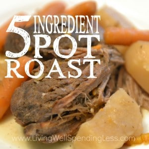 Craving an effortless meal for busy days? This tender, mouthwatering 5 ingredient pot roast takes just minutes of prep. Even better, it can be frozen ahead then slow-cooked to perfection in the slow cooker for a delicious & hearty one pot meal that your family will go absolutely crazy for!