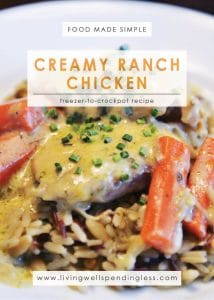 Creamy Ranch Chicken | Food Made Simple | Freezer Cooking | Freezer Meals | Main Course Meat | Chicken Recipes