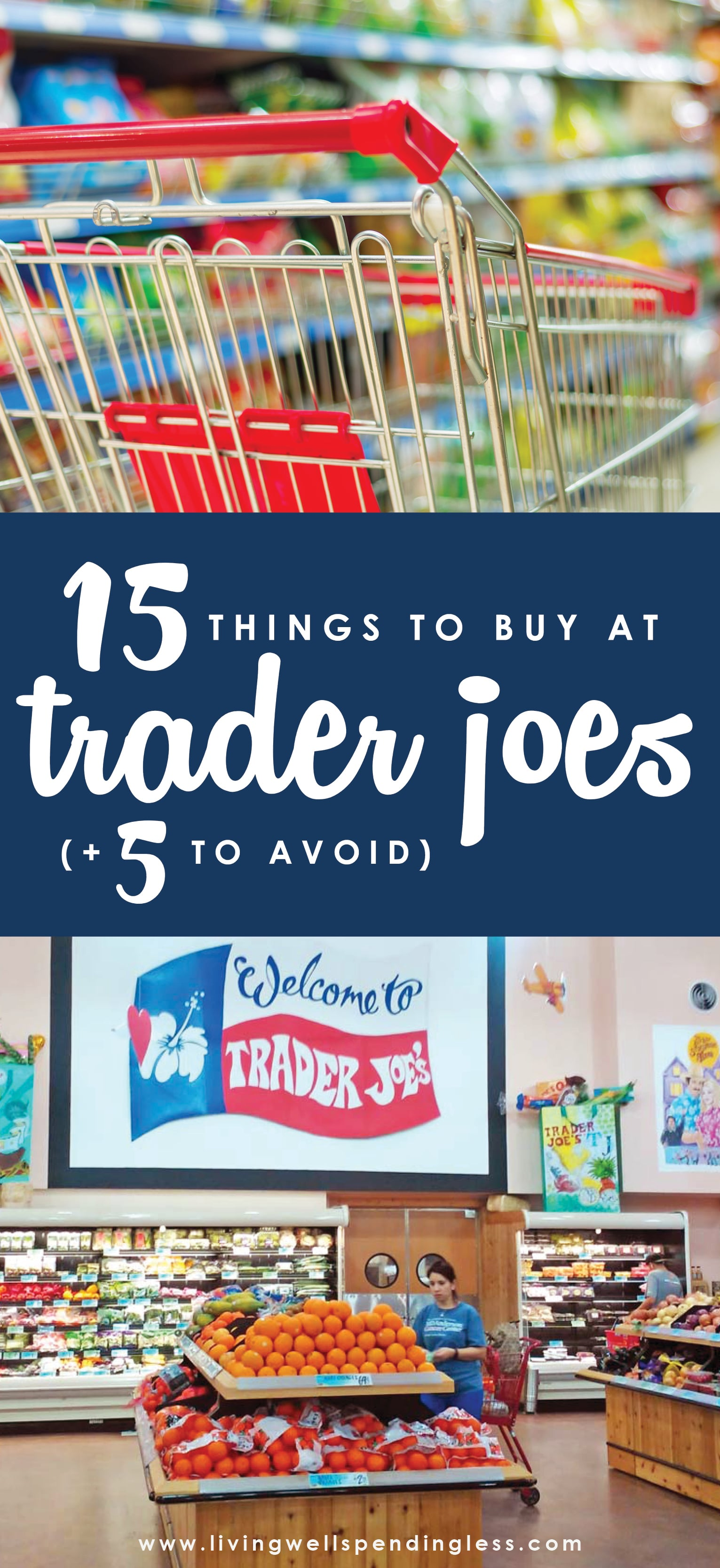 Wondering what to buy at Trader Joe's? Here's the inside scoop on the best things to buy when you shop your neighborhood TJs (and a few items that are better deals elsewhere). Save money with these smart and delicious Trader Joe's deals.  Trader Joe's Buying Tips   Things to Buy Trader Joe's   Products to Avoid Trader Joe's   Trader Joe's   Cookie Butter   Kale Sprouts   Vegetarian Freezer Meals   No Organic Meats   Grocery Tips