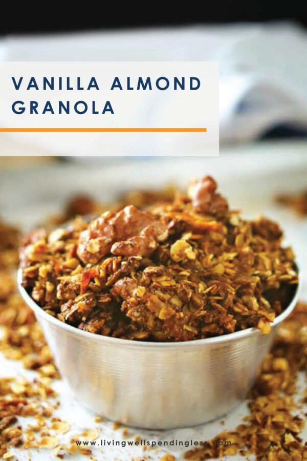 Need a new breakfast option? This homemade vanilla almond granola is delicious and the perfect addition to fresh fruit or yogurt! #granola #homemadegranola #yogurtparfait #cereal #recipes #breakfastrecipes #vanillarecipes #granolarecipes #easyrecipes #healthyrecipes