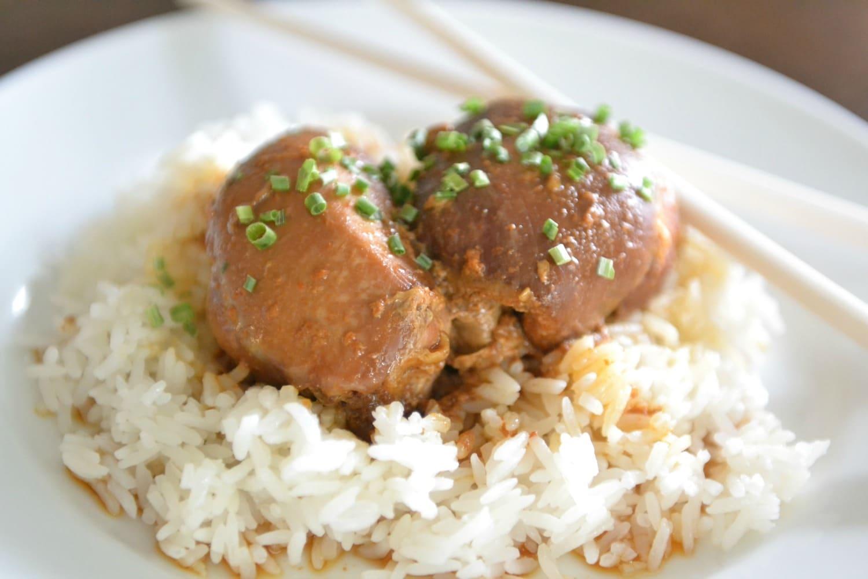 Serve chicken over rice.