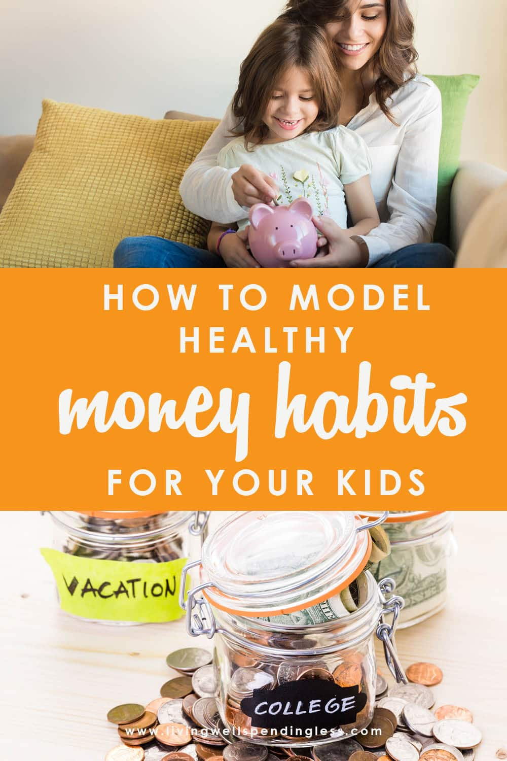 Want your kids to grow up knowing how to handle money? Believe it or not, your actions as a parent speak far louder than your words, and those little eyes are watching everything you do. Don't miss these simple but practical tips for how to model healthy money habits for your kids--it's a must-read for every parent! #healthymoneyhabits #moneyandkids #parenting #moneysavingtips #teachkidsaboutmoney