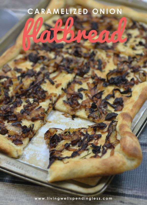 This super simple caramelized onion flatbread comes together quickly with just five easy (and inexpensive) ingredients! Bursting with flavor, it is perfect as a side but hearty enough to stand on its own.