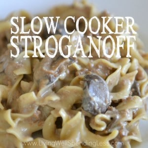 Craving comfort food? This delicious slow cooker stroganoff can be assembled in minutes then frozen ahead so it is ready when you are. On cooking day, simply throw it straight into the slow cooker, then serve over noodles for a hearty home cooked meal your whole family will love!