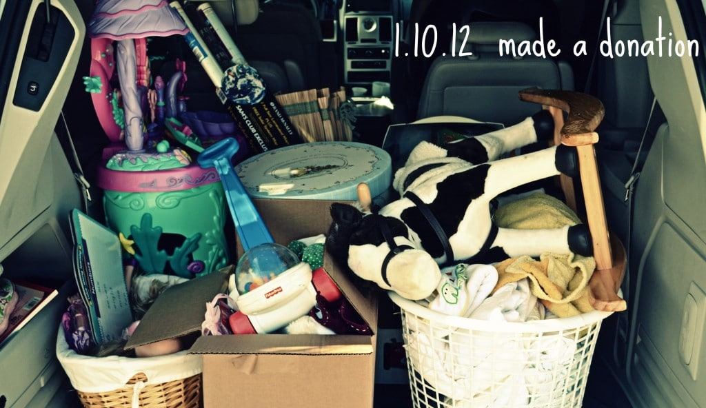 The back of my car filled with items to donate, many of them were recent Christmas gifts.