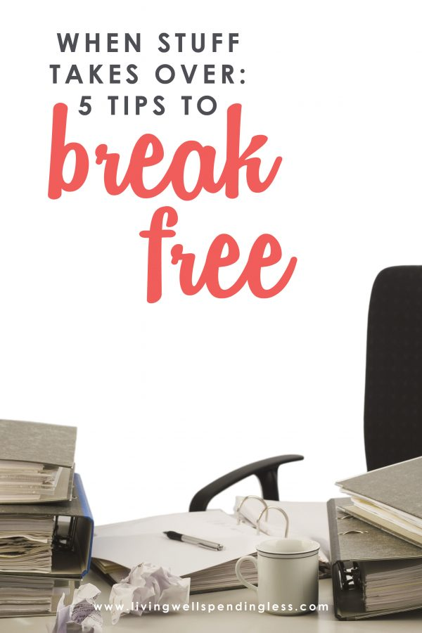 s your STUFF taking over your life?  From the clutter in our closets to the paperwork piling in the corner, it can sometimes feel like we are trapped in a vicious cycle of chaos.  If you've been longing to take your life back from the stuff weighing you down, don't miss these 5 simple tips to help you break free!