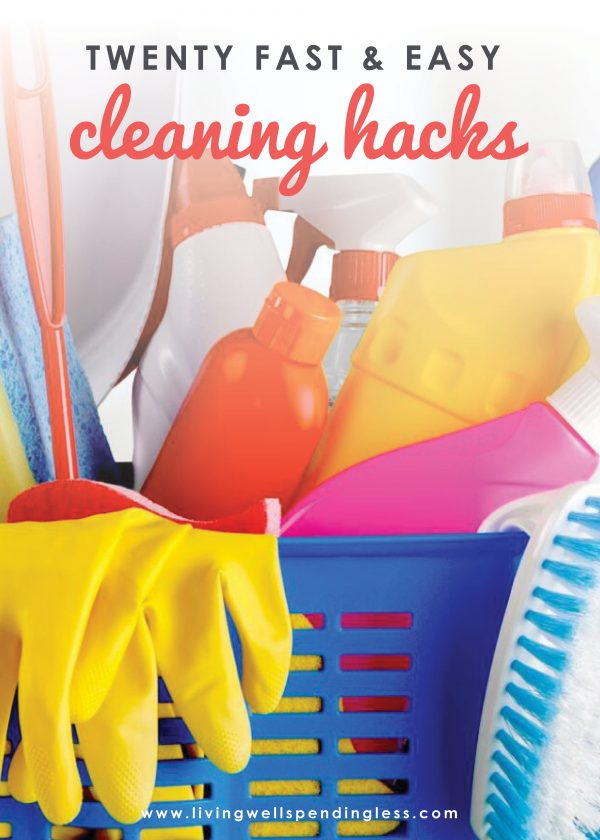 Let's face it--cleaning is rarely fun, but wouldn't it be great to find a few simple tricks that could make getting things spic & span just a little bit faster or easier? Our 20 fast & easy cleaning hacks provide clever solutions to a variety of cleaning problems, often with the inexpensive household items you already have on hand! Don't miss this helpful post--it's a game changer!
