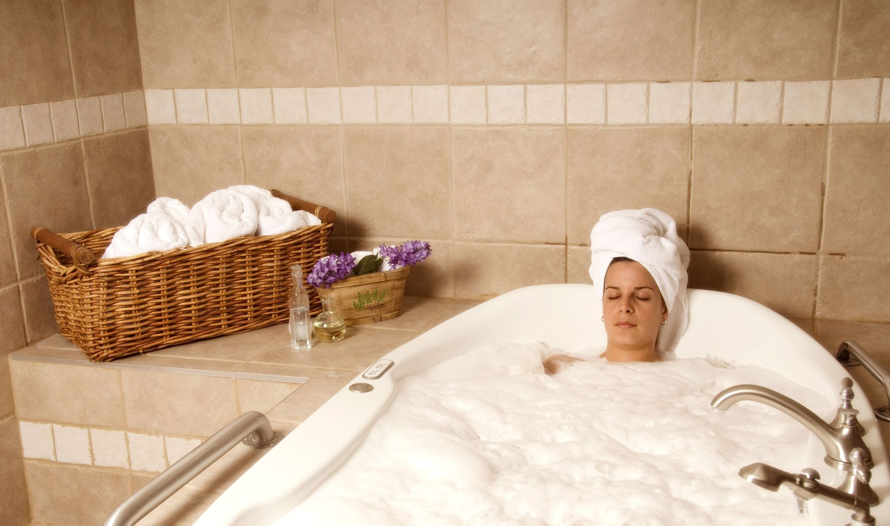 Taking a relaxing bath will help you recharge.