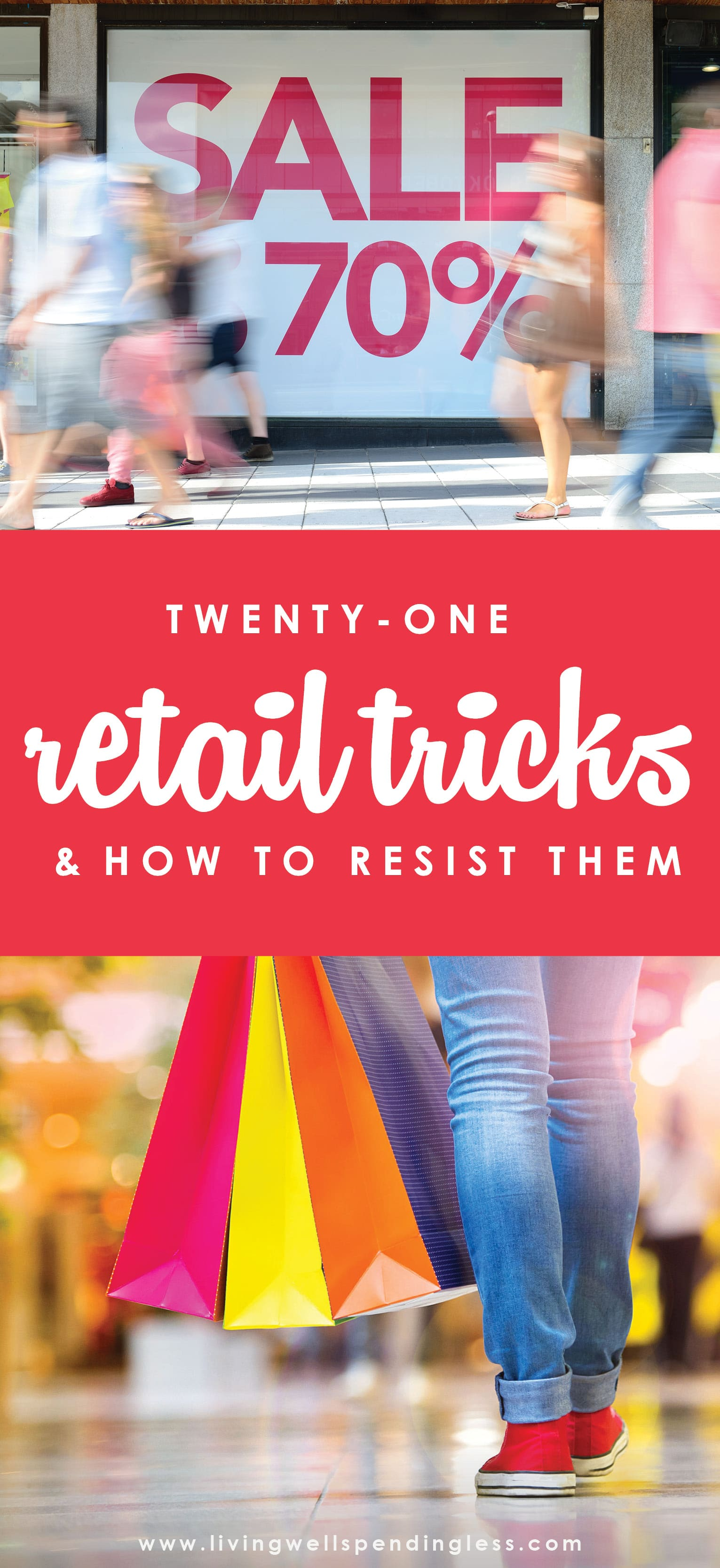 Ever find yourself buying more than you intended at your favorite retail store? Whether it's clothing or home goods or even groceries, retailers are working overtime to get us to buy more with any number of subtle and not-so subtle sales tactics. If you've ever spent more than you intended to, you NEED to understand these 21 retail tricks (and how to resist them!)  Retail Tricks (and How to Resist Them) |  Budgeting | Home Decluttering | Home 101
