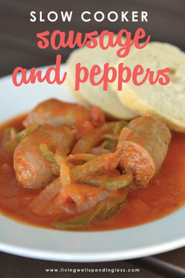 Craving comfort food without any fuss? This ridiculously easy Slow Cooker Sausage & Peppers recipe is almost too good to be true! It comes together in minutes with just a few easy ingredients, then goes straight from the freezer to the crockpot for an effortless weeknight meal that tastes like you slaved all day. #crockpotdinner #freezermeal #easydinner #simpledinner #recipes #crockpotrecipes #slowcookerrecipes #sausagerecipes #dinnerrecipes #easyrecipes #freezercooking