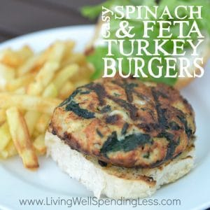 Are you ready for grilling season? These flavor-packed (and super easy) Spinach & Feta Turkey Burgers can be frozen ahead of time, then thrown straight on the grill so they are ready when you are! SO much better than the pre-packaged patties, and so much cheaper too!