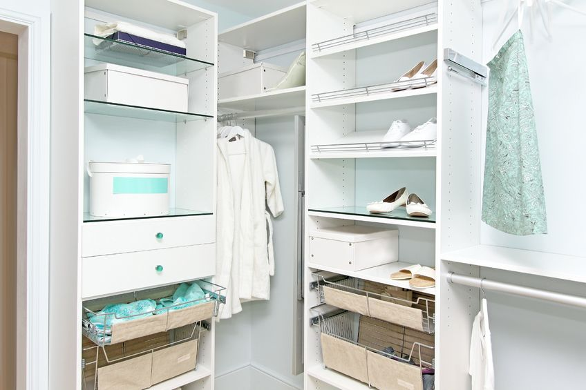 An organized closet or storage space can help you feel less cluttered!