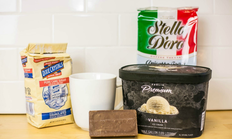 Assemble your coffee cookie ice cream ingredients: sugar, coffee, vanilla ice cream, and Italian toast cookies.