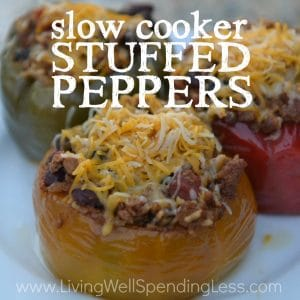 Ready for a fresh take to your tired dinner routine? You seriously won't believe how quickly & easily these delicious slow-cooker stuffed peppers come together! Packed with flavor, they go straight from the freezer to crockpot for an effortless meal that is sure to impress! It is freezer cooking at its best!