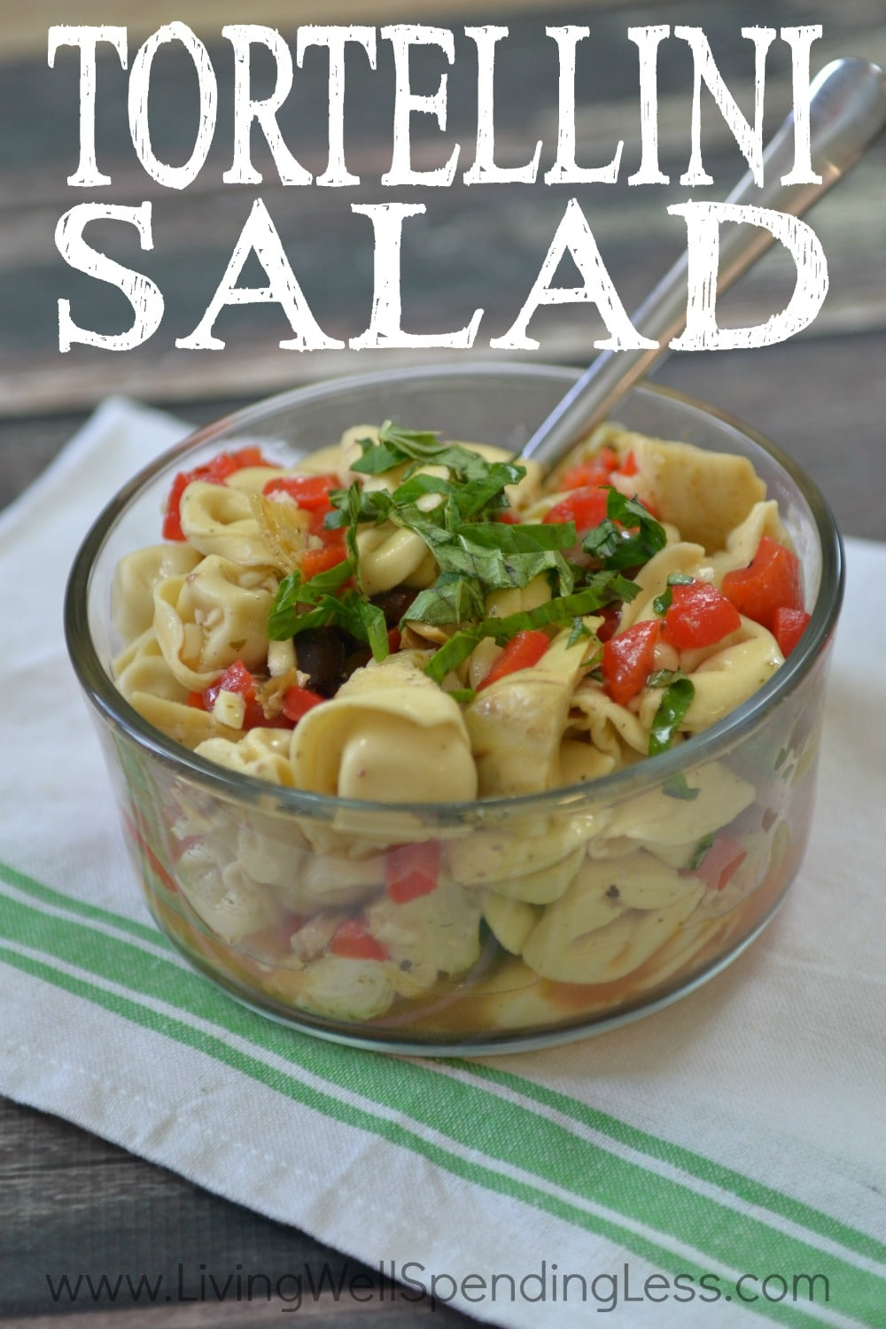Ready for a fresh summer meal that comes that comes together fast? This flavor-packed Tortellini Salad is the perfect solution for lazy summer nights. Not only is it absolutely delicious, it requires just six easy ingredients. Hearty enough to stand on its own, it is also great served with grilled chicken, steak or shrimp for a 10-minute meal your whole family will love!