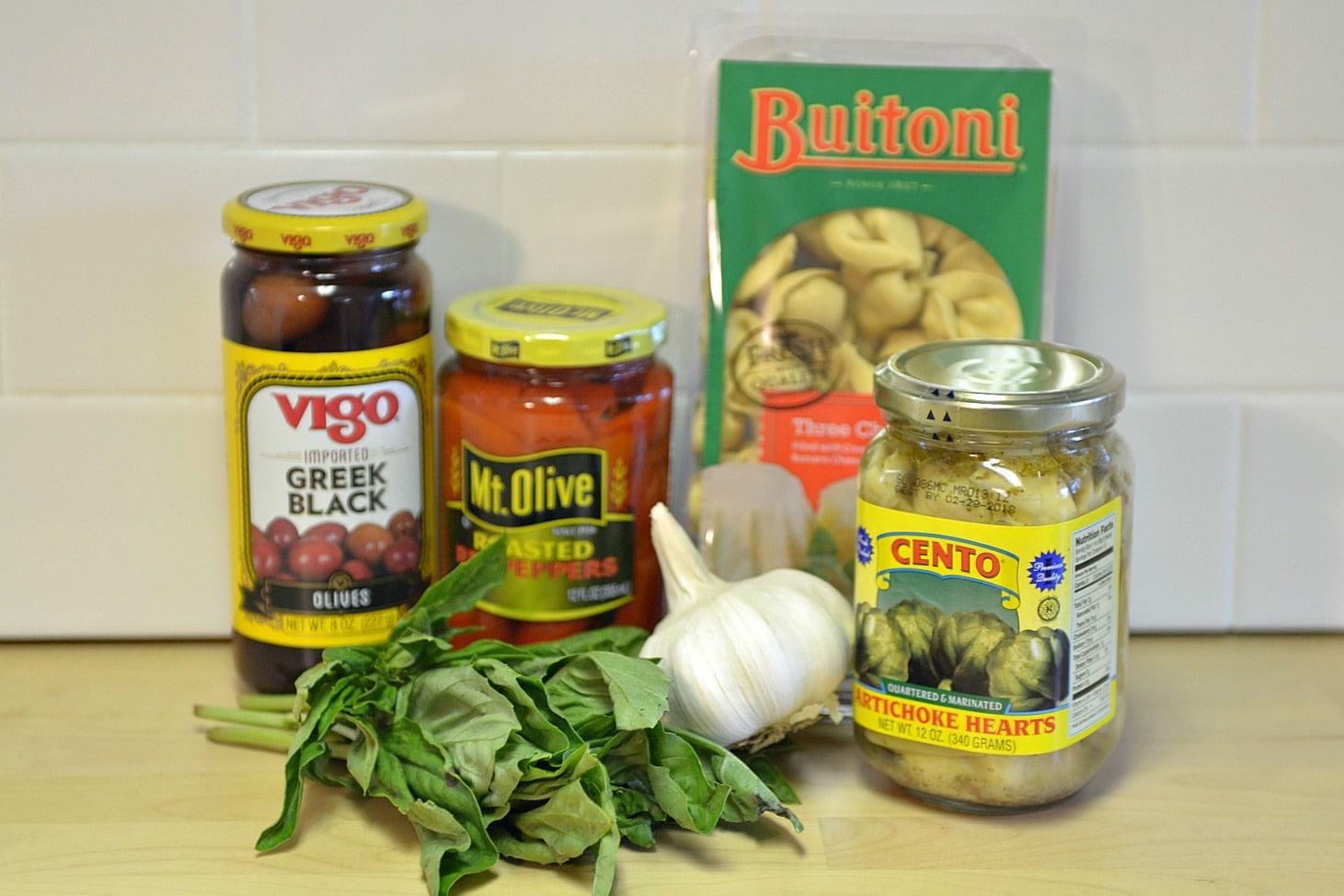 5 Ingredient Tortellini Salad supplies