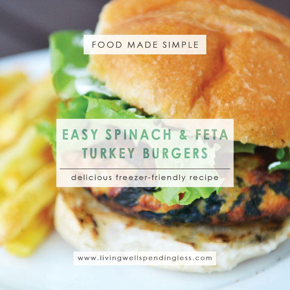 Easy Spinach & Feta Turkey Burgers  Quick Spinach and Feta Turkey Burgers Recipe   Spinach Feta Turkey Burgers   Turkey Burgers