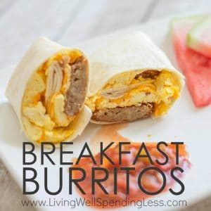 Hectic mornings got you feeling stressed?  Alleviate the morning rush with these quick and tasty make-ahead breakfast burritos.  They come together fast, then can be frozen ahead of time for delicious breakfast on the go.  Healthier than fast food, and cheaper too!