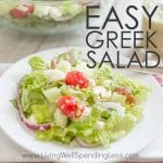 Need a quick & easy meal idea for hot summer nights? This super delicious Easy Greek Salad has a ton of flavor, crunch and uses fresh ingredients. Best of all, it comes together in just a few minutes! Serve with grilled steak, chicken or shrimp for an effortless meal your whole family will love!