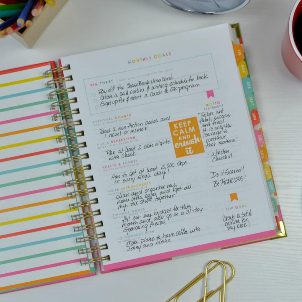 Use a personal planner to stay organized.