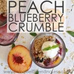Craving a sweet treat packed with all the fresh goodness of summer?  This Peach Blueberry Crumble is the perfect combination of sweet peaches and tart blueberries.  With just a few simple & wholesome ingredients, it comes together in minutes for a show-stopping dessert that tastes like you slaved all day!  Yum!