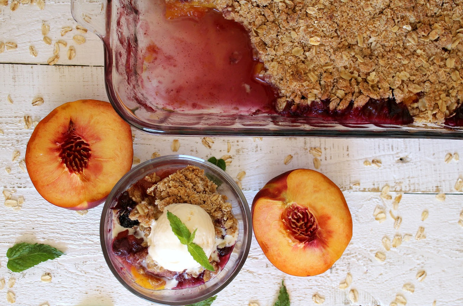 This peach and blueberry crumble makes a perfect summer dessert, especially when topped with a scoop of vanilla ice cream.